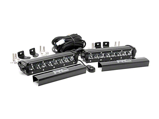 Rough Country 8 in. Chrome Series Single Row LED Light Bars - Spot Beam - Pair