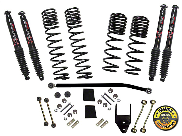 SkyJacker 3.50-Inch Dual Rate Long Travel Suspension Lift Kit with Black MAX Shocks (18-20 2.0L or 3.6L Jeep Wrangler JL 2 Door Rubicon)