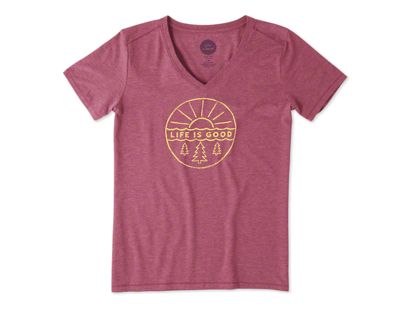 Life is Good Women's Pines & Sun Cool Vee T-Shirt