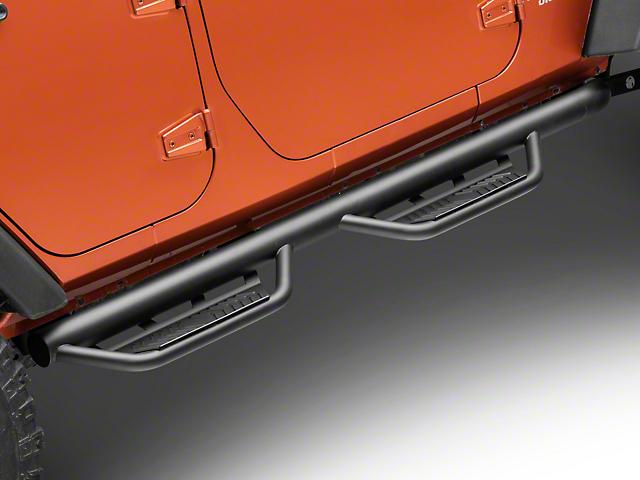 Havoc Offroad HS2 Hoop Side Step Bars; Textured Black (07-18 Jeep Wrangler JK 4 Door)