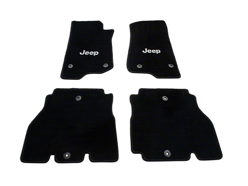 Lloyd Front and Rear Floor Mats with Jeep Logo; Black (18-20 Jeep Wrangler JL 4 Door)