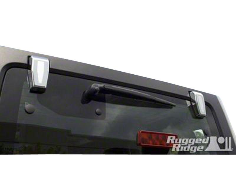 Rugged Ridge Lift Gate Hinge Covers - Chrome (07-18 Jeep Wrangler JK w/ Hard Top)