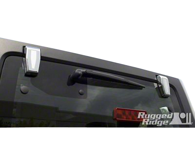 Rugged Ridge Lift Gate Hinge Covers - Chrome (07-18 Jeep Wrangler JK w/ Hard Top)