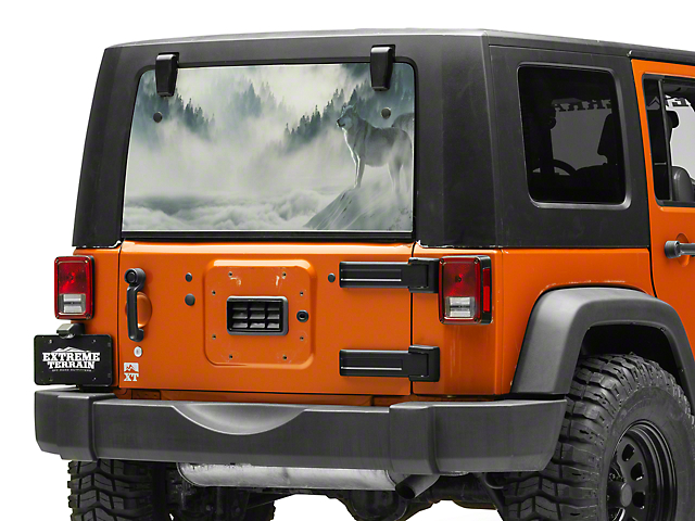 SEC10 Perforated Wolf Rear Window Decal (87-20 Jeep Wrangler YJ, TJ, JK & JL)