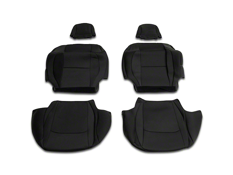 RedRock 4x4 Custom Fit Front and Rear Seat Covers; Black (18-20 Jeep Wrangler JL 4 Door)
