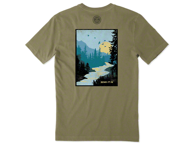 Life is Good Men's Soak It In T-Shirt; Forest Green