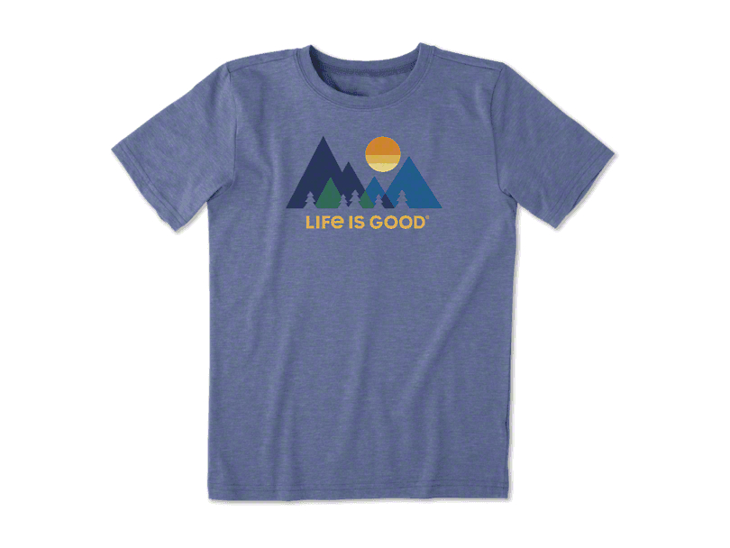 Life is Good Boy's Minimalist Landscape T-Shirt - Vintage Blue