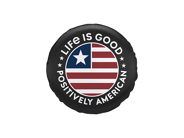 Life is Good Positively American Coin Spare Tire Cover - Night Black (87-19 Jeep Wrangler YJ, TJ, JK & JL)