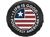 Life is Good Positively American Coin Spare Tire Cover - Night Black (87-20 Jeep Wrangler YJ, TJ, JK & JL)