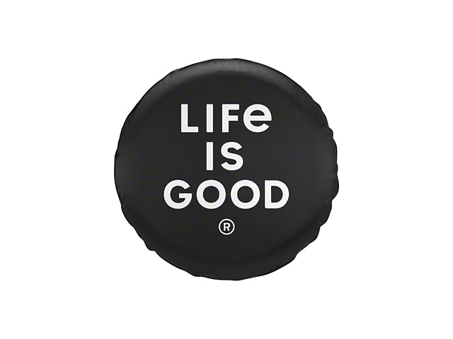 Life is Good LIG Stacked Logo Spare Tire Cover - Night Black (87-19 Jeep Wrangler YJ, TJ, JK & JL)