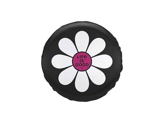 Life is Good Simple Daisy Spare Tire Cover - Night Black (87-19 Jeep Wrangler YJ, TJ, JK & JL)