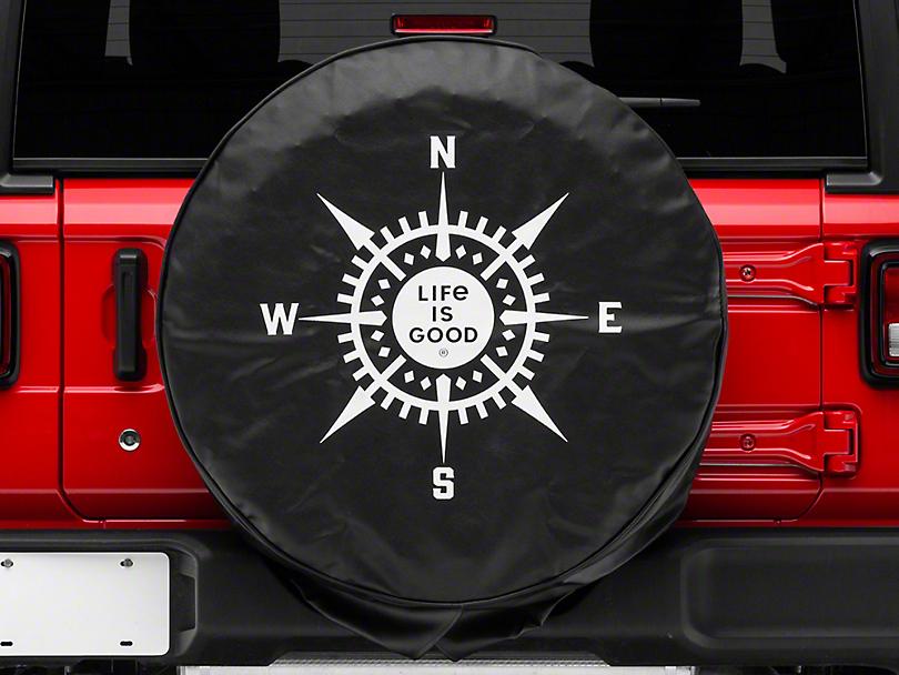 Life is Good LIG Compass Spare Tire Cover - Night Black (87-19 Jeep Wrangler YJ, TJ, JK & JL)