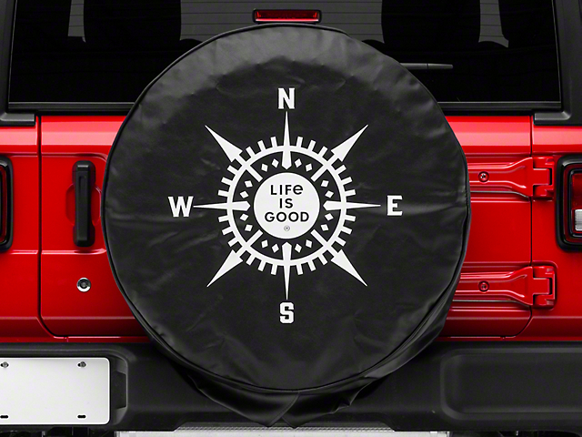 Life is Good LIG Compass Spare Tire Cover - Night Black (87-20 Jeep Wrangler YJ, TJ, JK & JL)