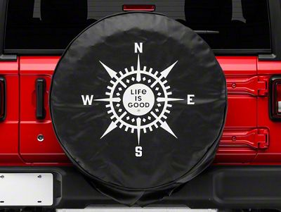GOSMAO Com-pass Rose Black Spare Tire Cover UV Sun Wheel Covers Fit for Many Vehicle 16 inch