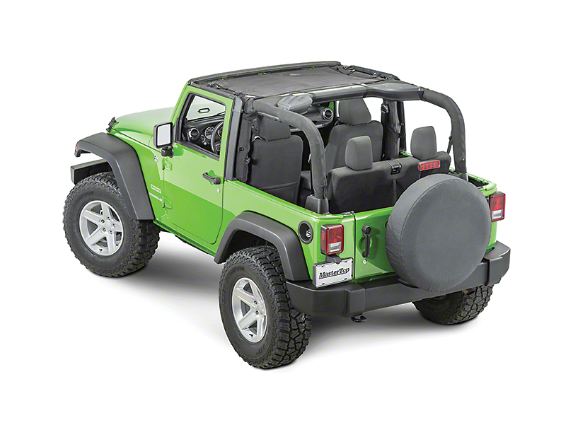 MasterTop ShadeMaker Freedom Mesh Bimini Top; Black (07-18 Jeep Wrangler JK 2 Door)