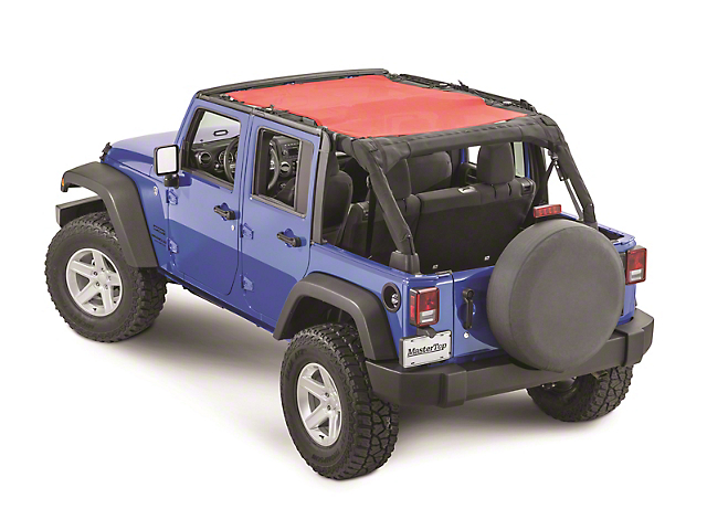 MasterTop ShadeMaker Freedom Mesh Bimini Top Plus; Red (07-18 Jeep Wrangler JK 4 Door)