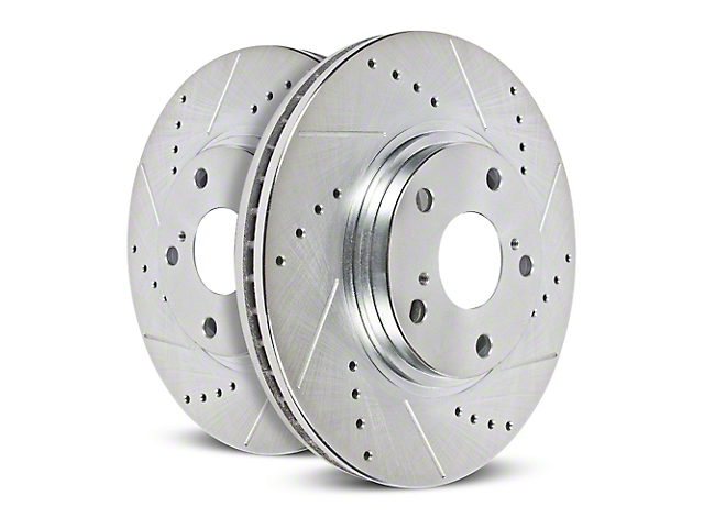 Power Stop Evolution Cross-Drilled and Slotted Rotors; Front Pair (18-20 Jeep Wrangler JL)