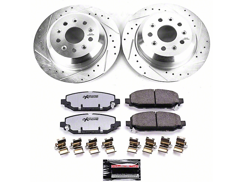 Power Stop Z36 Extreme Truck and Tow Brake Rotor and Pad Kit; Rear (18-20 Jeep Wrangler JL Rubicon, Sahara)