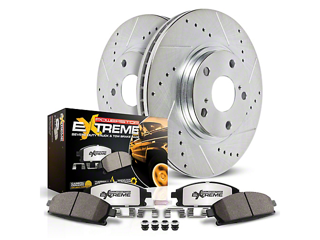 Power Stop Z36 Extreme Truck and Tow Brake Rotor and Pad Kit; Front (2020 Jeep Gladiator JT Launch Edition, Rubicon)