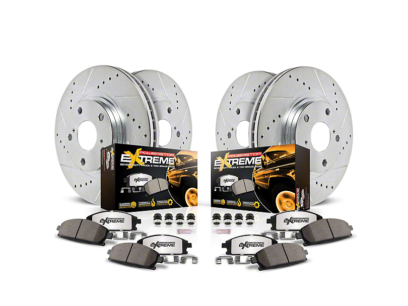 Power Stop Z36 Extreme Truck and Tow Brake Rotor and Pad Kit; Front and Rear (18-20 Jeep Wrangler JL Rubicon, Sahara)