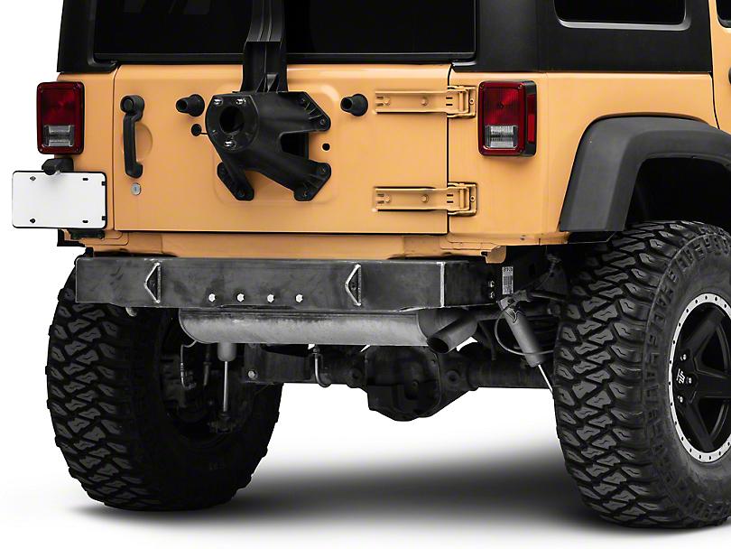 Steinjager Stubby Rear Bumper w/ D-Ring Mounts - Bare Metal (07-18 Jeep Wrangler JK)
