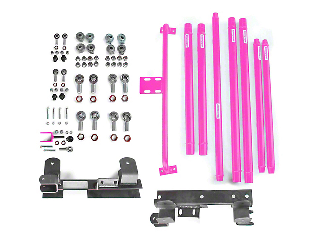 Steinjager DOM Tube Long Arm Travel Kit for 2-6 in. Lift - Hot Pink (97-06 Jeep Wrangler TJ)