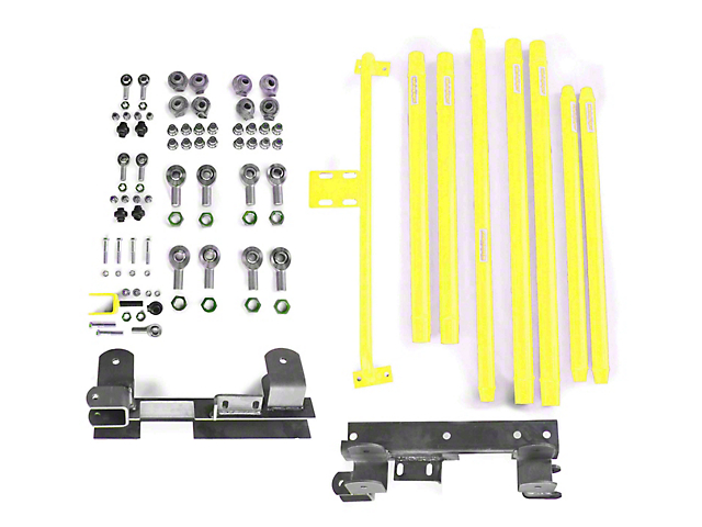 Steinjager DOM Tube Long Arm Travel Kit for 2 to 6-Inch Lift; Neon Yellow (97-06 Jeep Wrangler TJ)