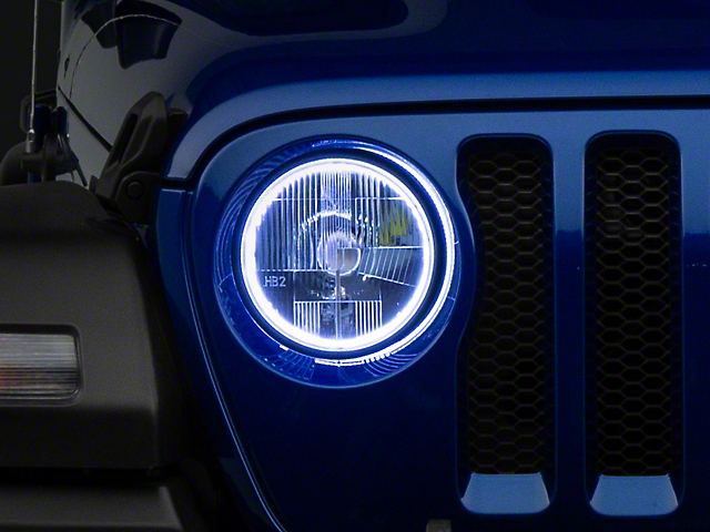 Delta 7-Inch Halo LED Headlights; Chrome Housing; Clear Lens (18-21 Jeep Wrangler JL)