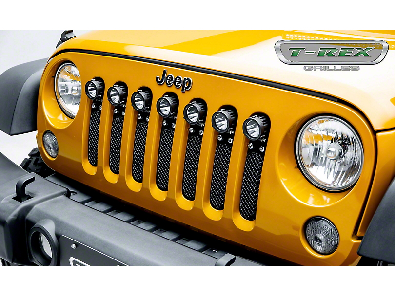T-REX Torch Series Grille Insert with Chrome Studs and LED Lights; Black (07-18 Jeep Wrangler JK)