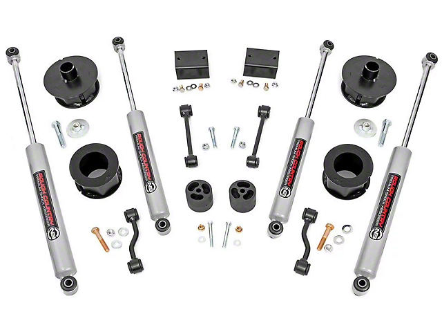 Rough Country 2.50-Inch Spacer Suspension Lift Kit with Premium N3 Shocks (18-20 Jeep Wrangler JL)
