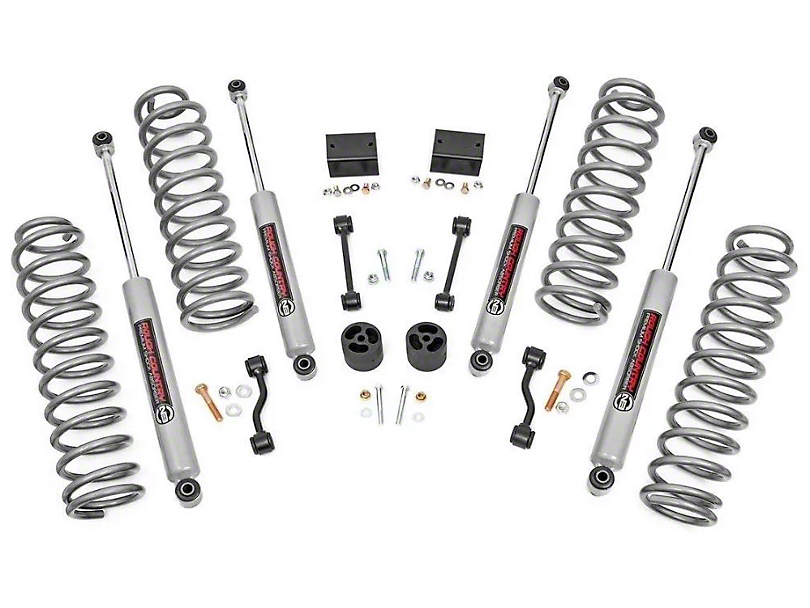Rough Country 2.5 in. Spring Suspension Lift Kit w/ Premium N3 Shocks (18-20 Jeep Wrangler JL 4 Door, Excluding Rubicon)