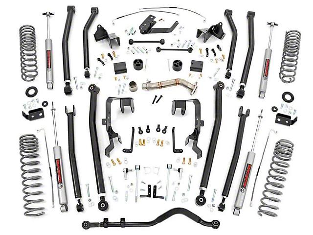 Rough Country 4 Inch Long Arm Suspension Lift Kit w/ Premium N3 Shocks (12-18 Jeep Wrangler JK 4 Door)