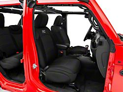Rough Country Neoprene Front and Rear Seat Covers; Black (18-21 Jeep Wrangler JL 4-Door w/o Rear Arm Rest)