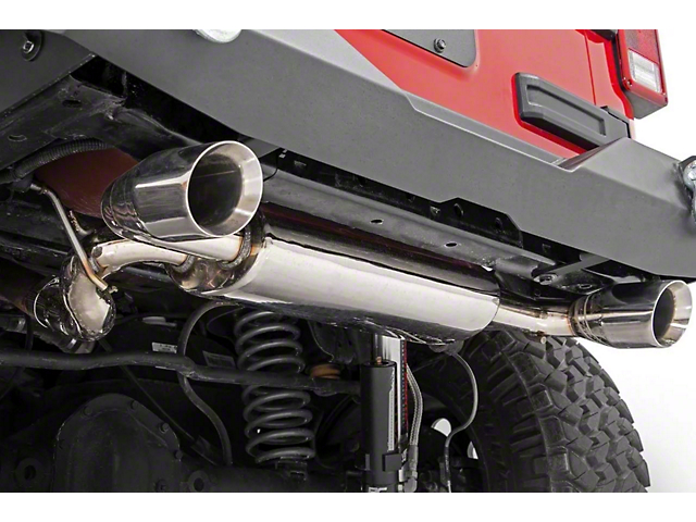 Rough Country Polished Dual Outlet Performance Axle-Back Exhaust (07-18 Jeep Wrangler JK)
