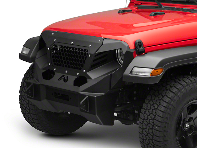 Fab Fours Front Stubby Grumper; Matte Black (18-21 Jeep Wrangler JL)