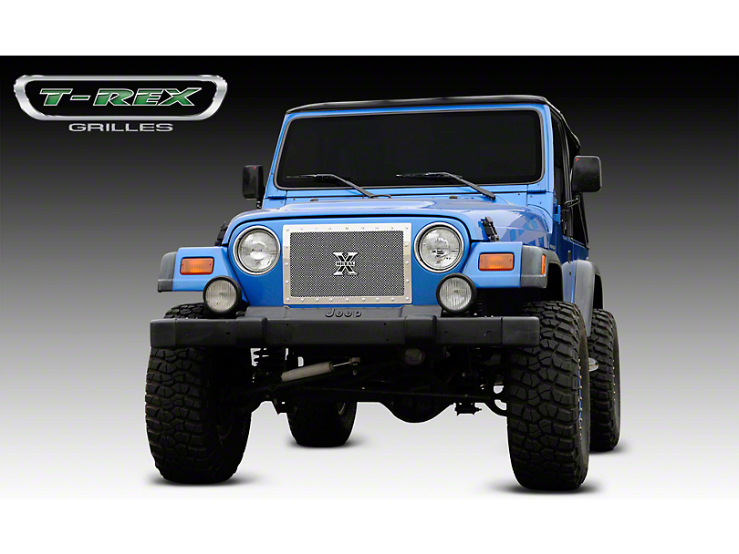 T-REX X-Metal Series Upper Grille Insert; Polished (97-06 Jeep Wrangler TJ)