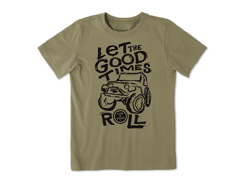 Life is Good Boy's Good Times Roll T-Shirt - Fatigue Green