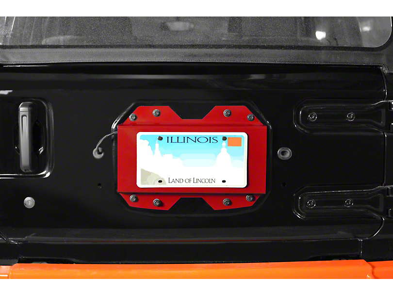 Steinjager Rear License Plate Relocator - Red Baron (18-20 Jeep Wrangler JL)