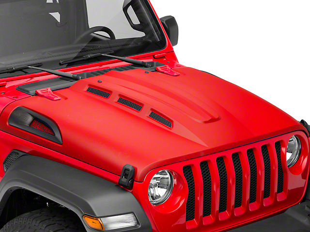 DV8 Offroad Heat Dispersion Vented Hood; Unpainted (18-21 Jeep Wrangler JL)
