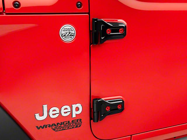 Exterior Door Hinge Covers; Black (18-21 Jeep Wrangler JL)