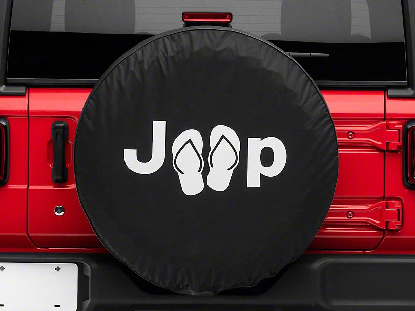 Jeep Sandals Spare Tire Cover - Black (87-19 Jeep Wrangler YJ, TJ, JK & JL)