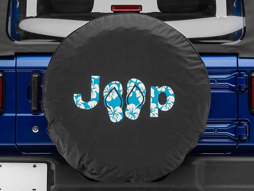 Jeep Aloha Sandals Spare Tire Cover - Black (87-20 Jeep Wrangler YJ, TJ, JK & JL)