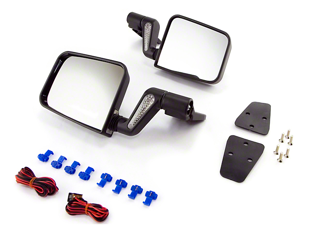 Rugged Ridge Heated Door Mirrors; Black (87-02 Jeep Wrangler YJ & TJ)