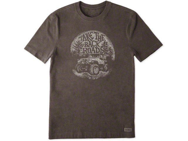 Life is Good Men's Take the Back Roads T-Shirt - Heather Rich Brown
