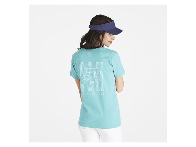 Life is Good Women's Beach Wander T-Shirt - Aqua Blue