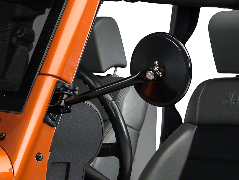 Rugged Ridge Quick Release Round Mirrors - Black (97-18 Jeep Wrangler TJ & JK)