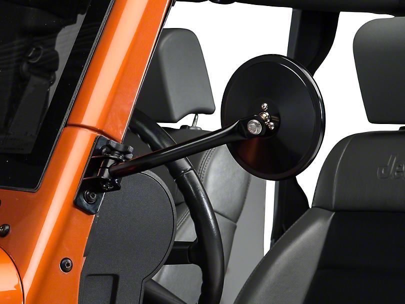 Rugged Ridge Quick Release Black Round Mirrors - Pair (97-18 Jeep Wrangler TJ & JK)