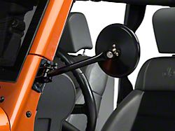 Rugged Ridge Quick Release Round Mirrors; Black (97-18 Jeep Wrangler TJ & JK)
