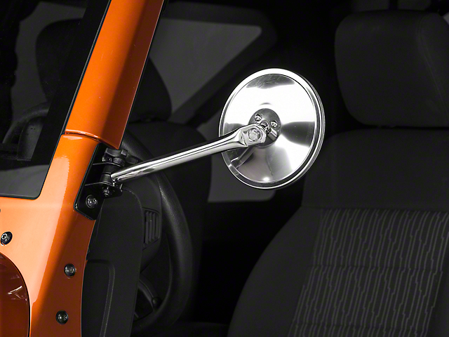 Rugged Ridge Quick Release Round Mirrors - Stainless Steel (97-18 Jeep Wrangler TJ & JK)