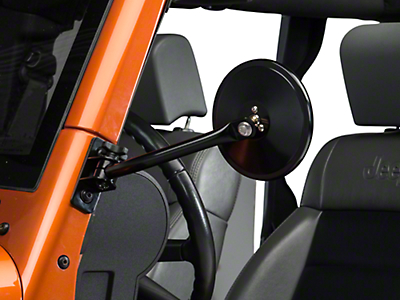 Rugged Ridge Quick Release Round Mirror - Black (97-18 Jeep Wrangler TJ & JK)